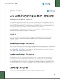 B2B SaaS Marketing Budget Template