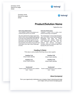 Download a one pager template for your B2B SaaS company