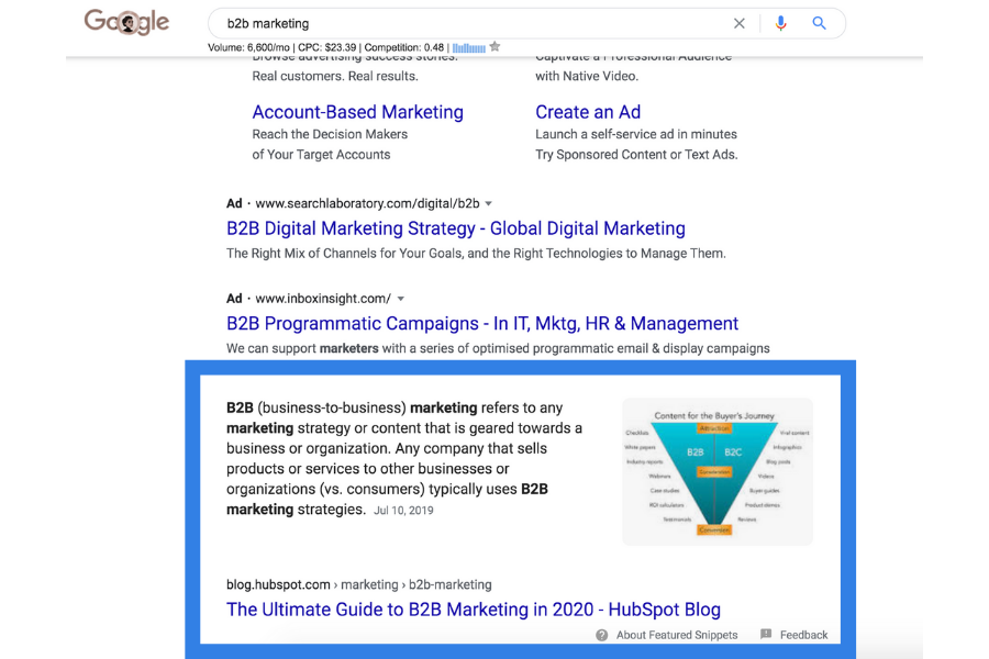 featured snipped - saas seo example