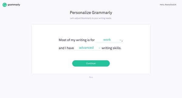 Grammarly personalization