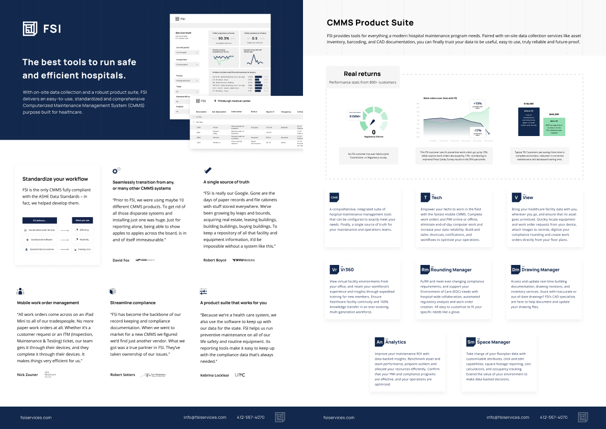 one pager example - company saas product overviews